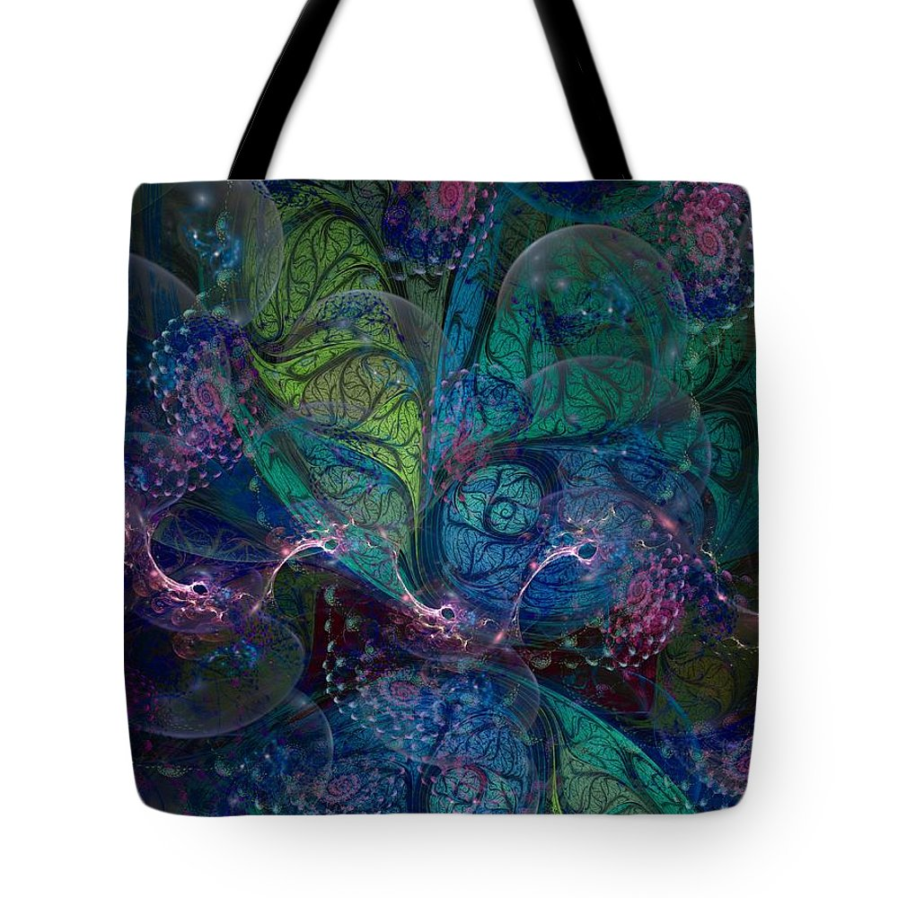 Fractal Tote Bag featuring the digital art Early Morning Dew Sparkles by Amorina Ashton