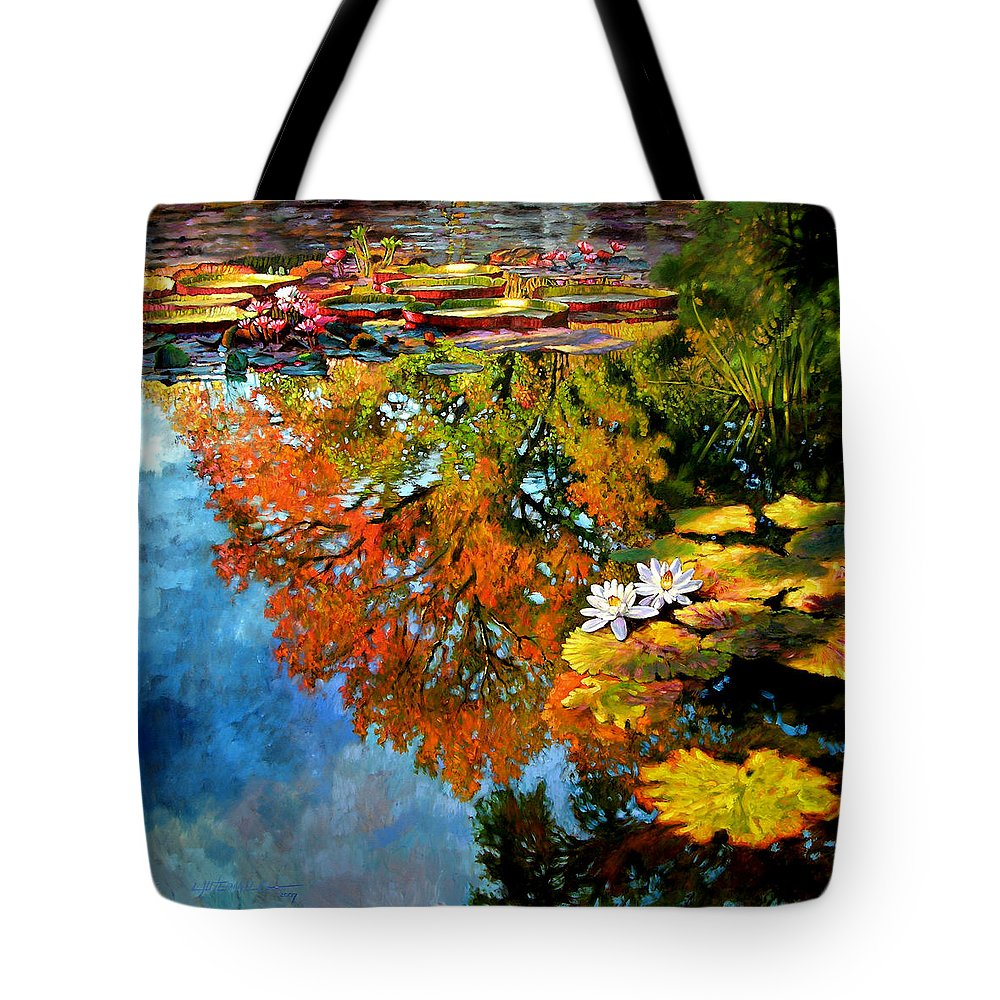 Landscape Tote Bag featuring the painting Early Morning Fall Colors by John Lautermilch