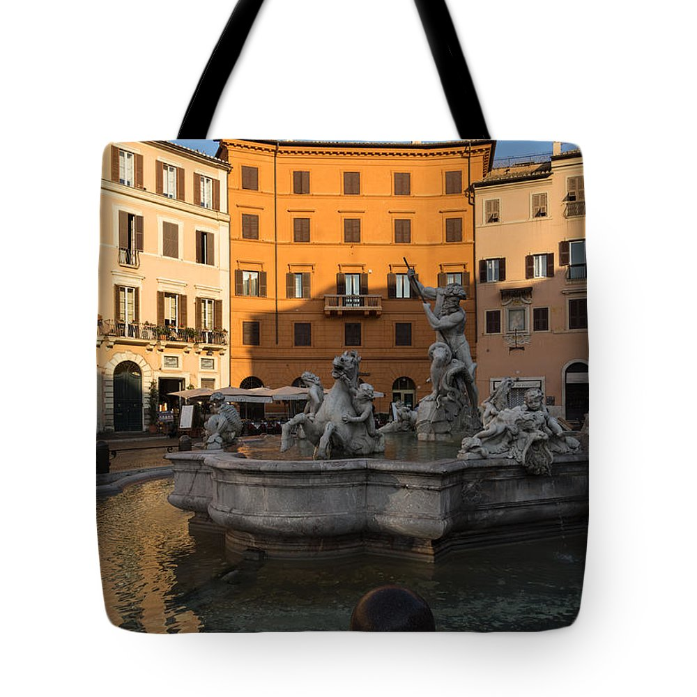 Georgia Mizuleva Tote Bag featuring the photograph Early Morning Glow - Neptune Fountain On Piazza Navona In Rome Italy by Georgia Mizuleva