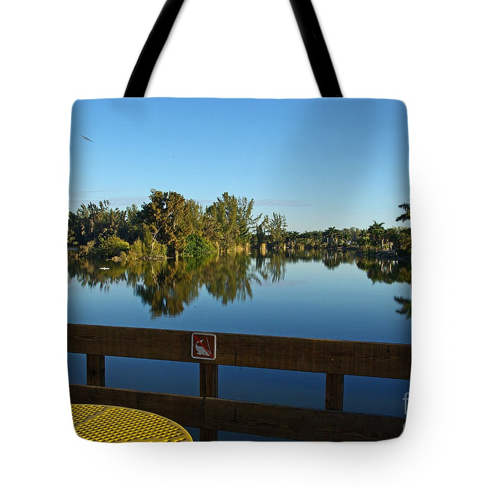 Lake Tote Bag featuring the photograph Early Morning In Lakes Park Fort Myers by Zalman Latzkovich