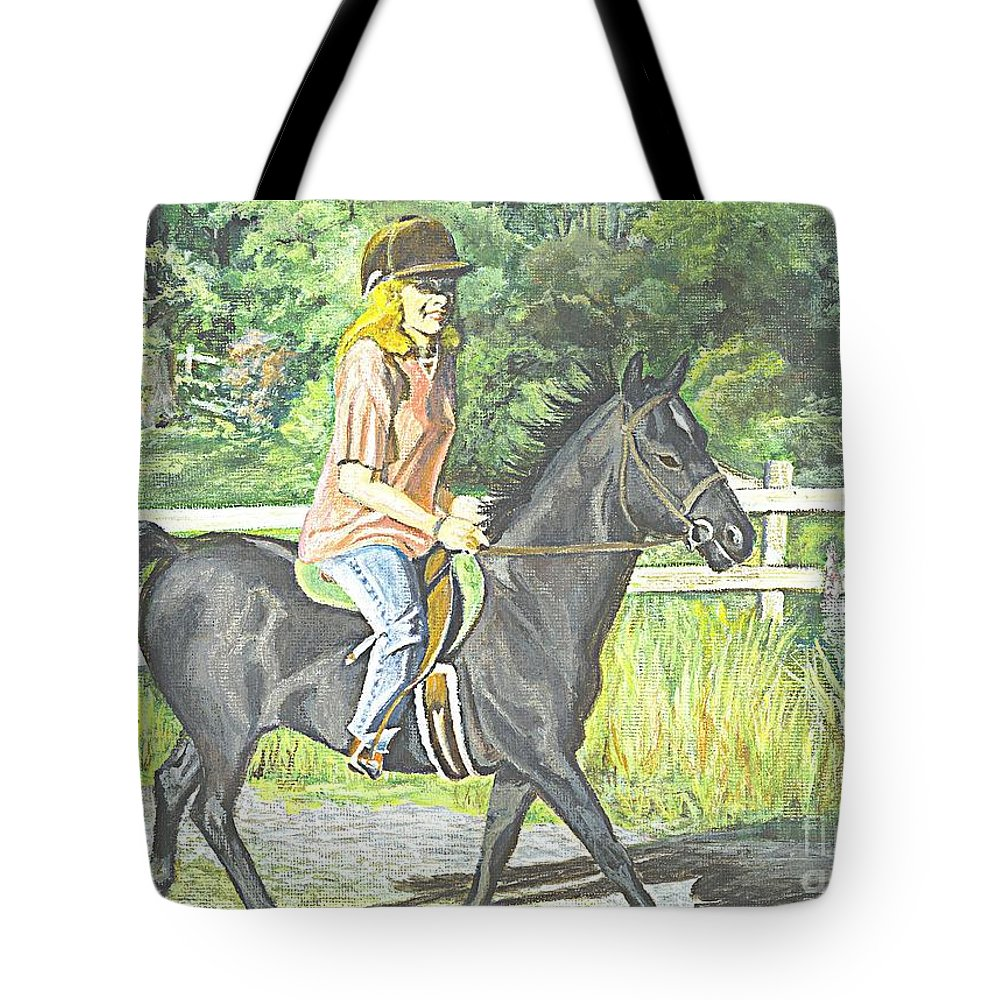 Horse Tote Bag featuring the painting Early Morning Jaunt by Carol Wisniewski