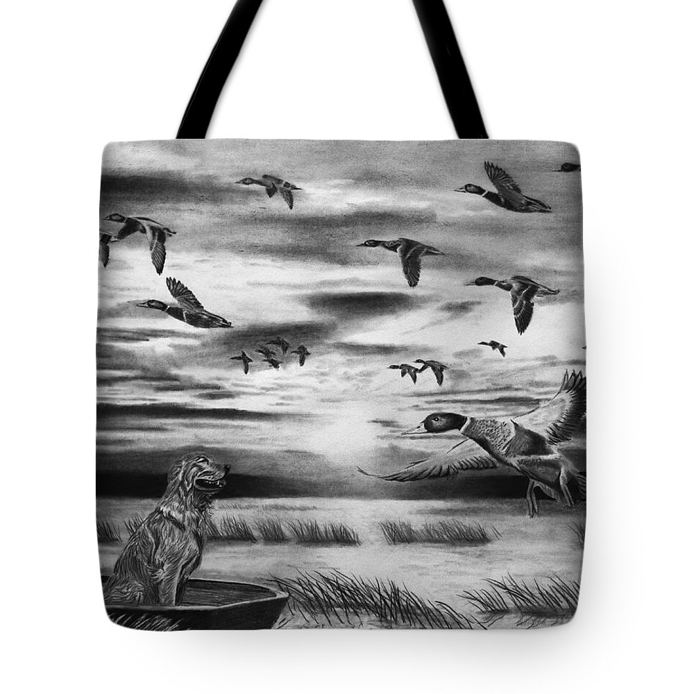Early Morning Tote Bag featuring the drawing Early Morning by Peter Piatt