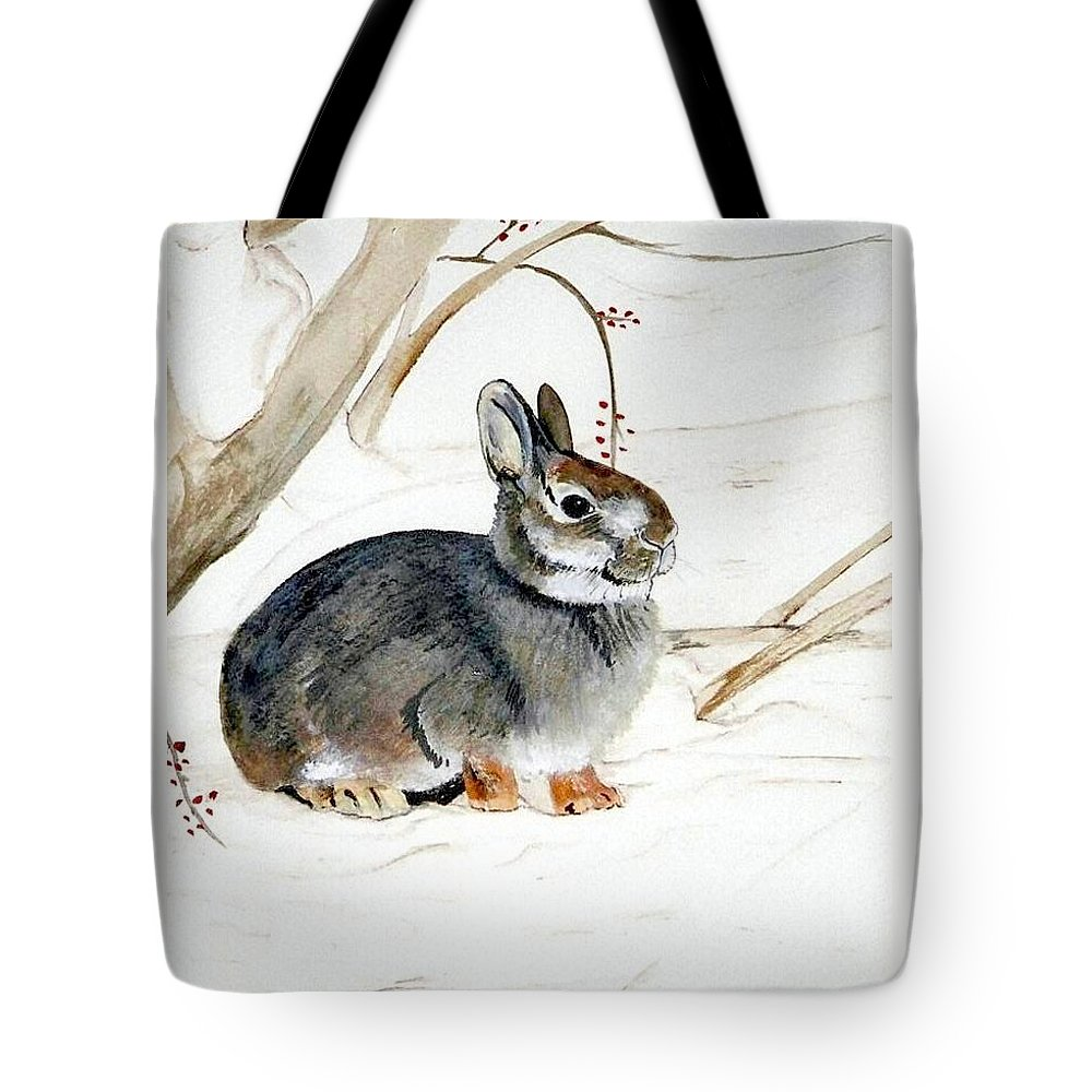 Rabbit Tote Bag featuring the painting Early Snow by Debra Sandstrom