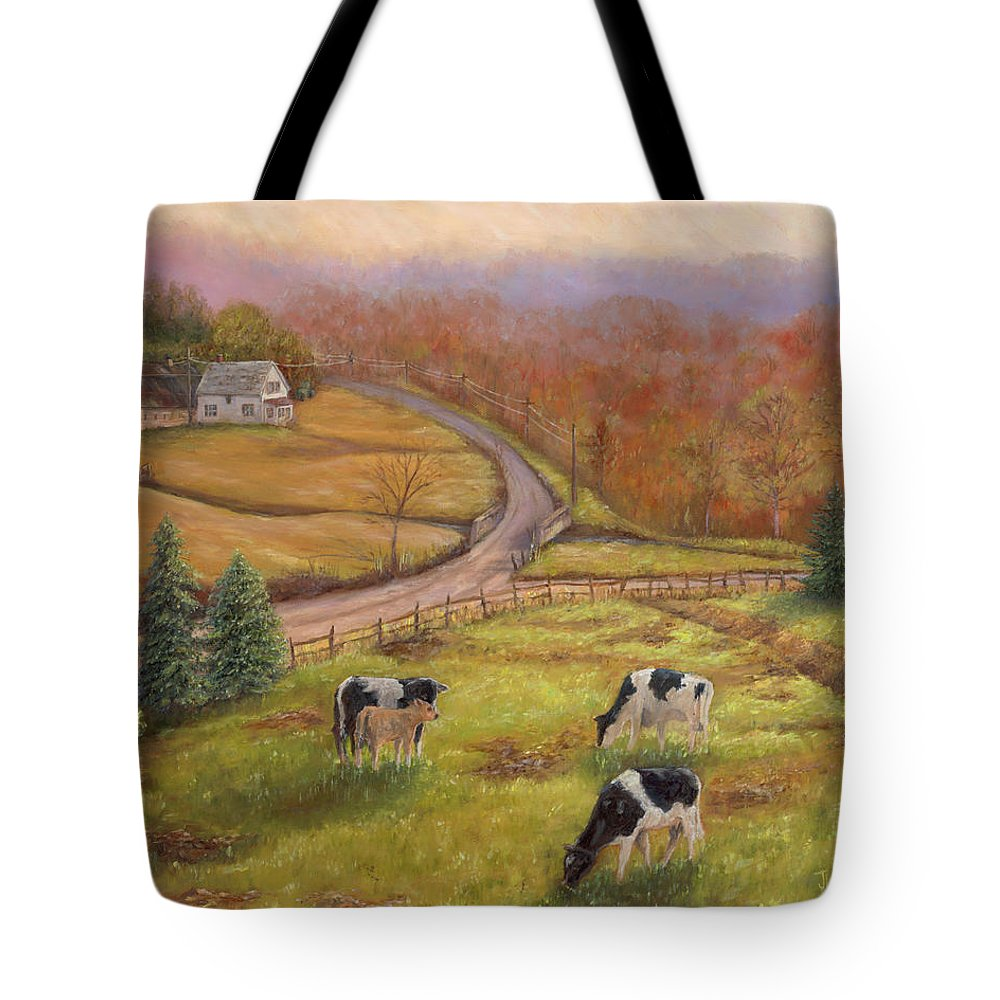 Landscape Tote Bag featuring the painting Early Spring Vermont by June Hunt