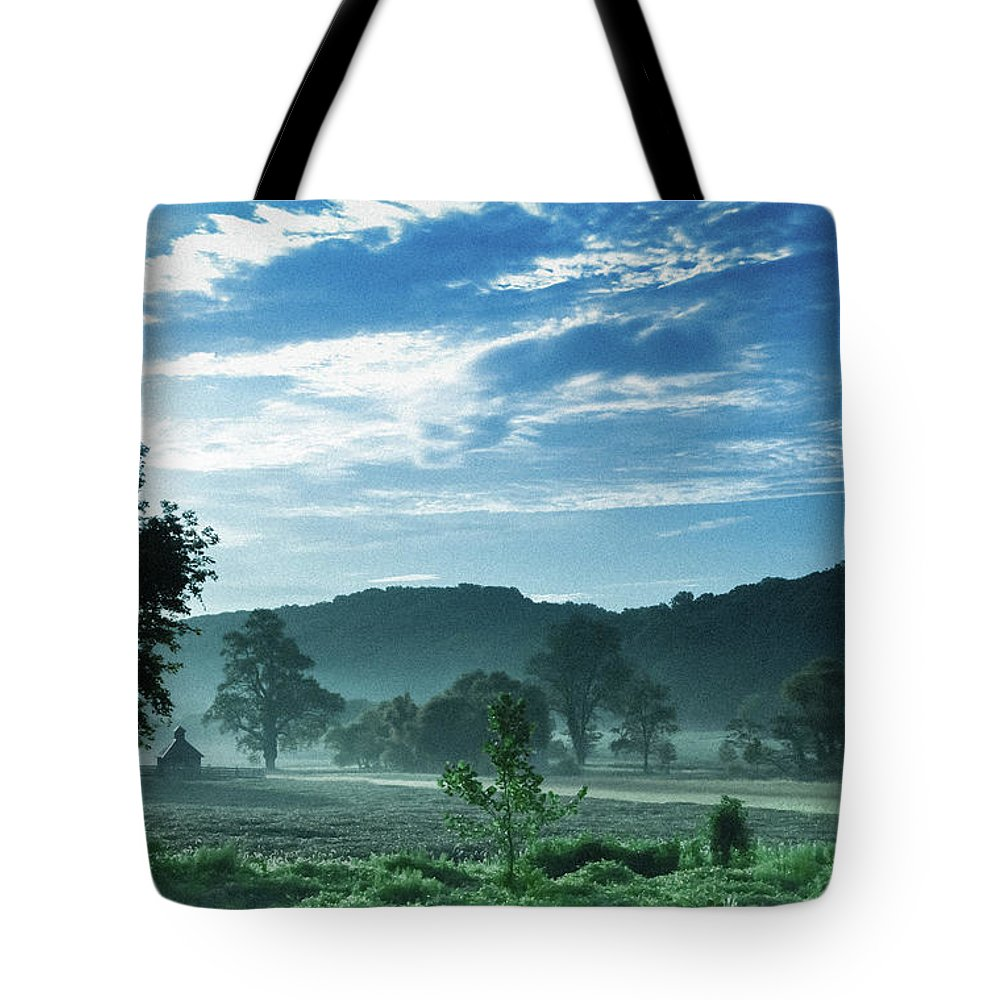 Landscape-morning Mist-sunrise Tote Bag featuring the photograph Early Summer Morning by Allan Franklin