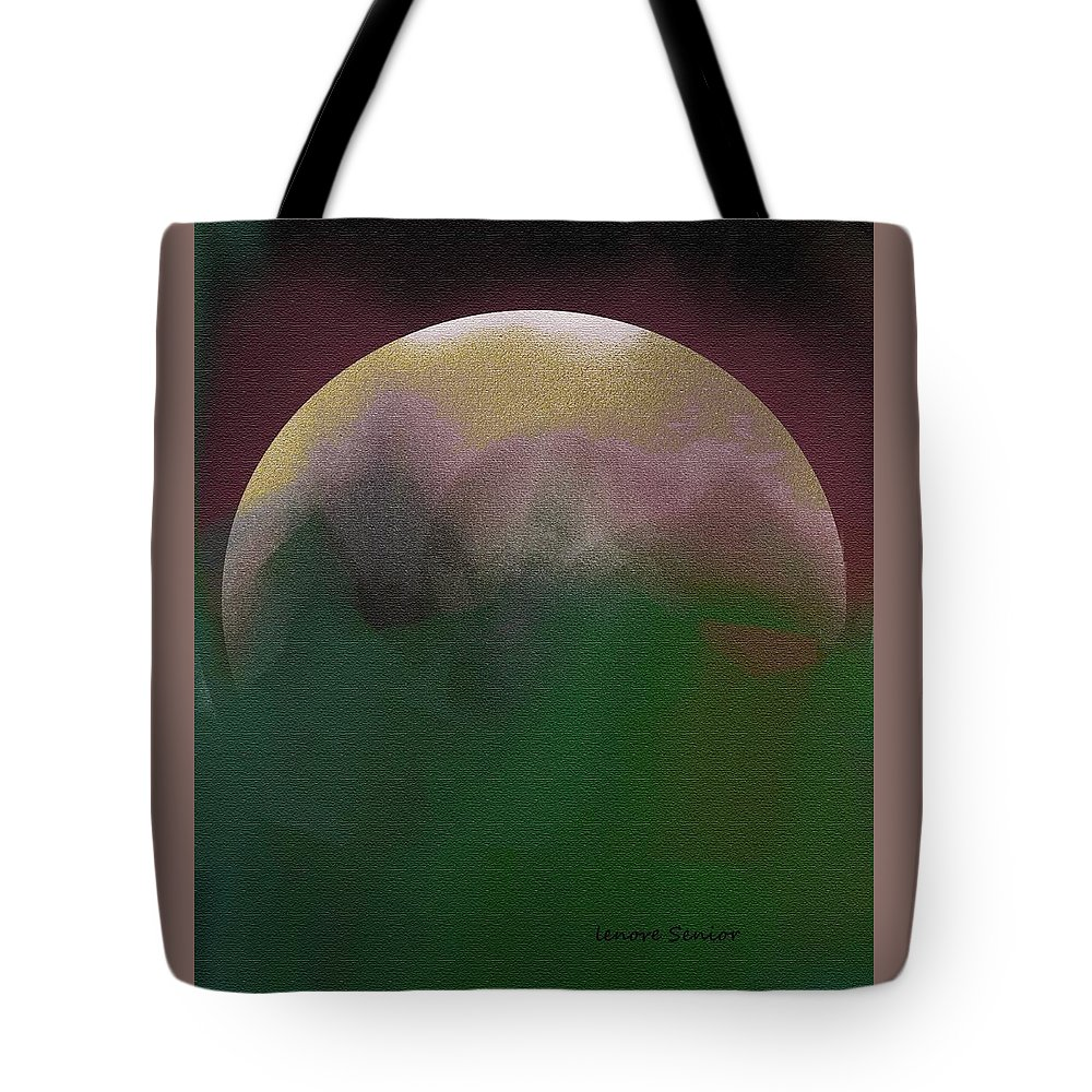 Abstract Tote Bag featuring the painting Earth And Moon by Lenore Senior