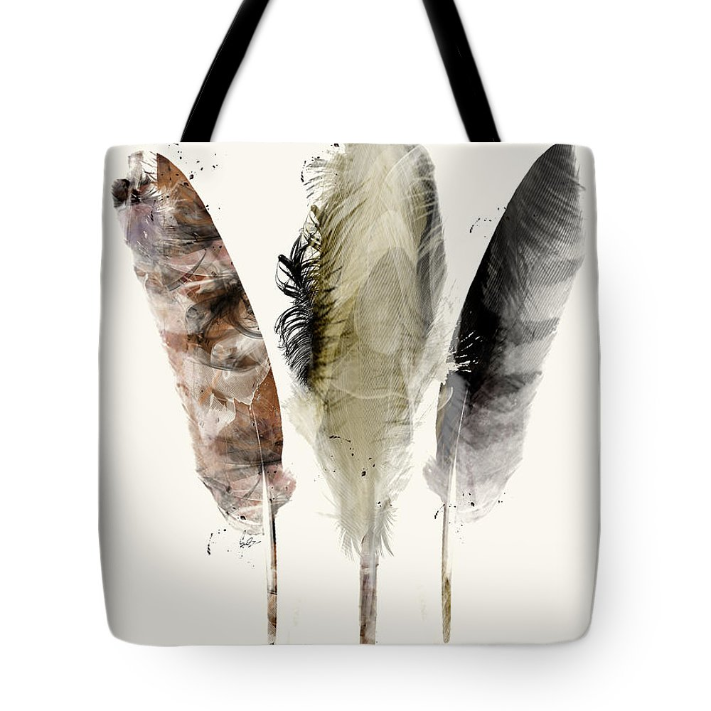 Feathers Tote Bag featuring the painting Earth Feathers by Bri Buckley