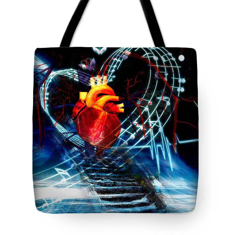 Earth Tote Bag featuring the digital art Earth Heart by LDS Dya