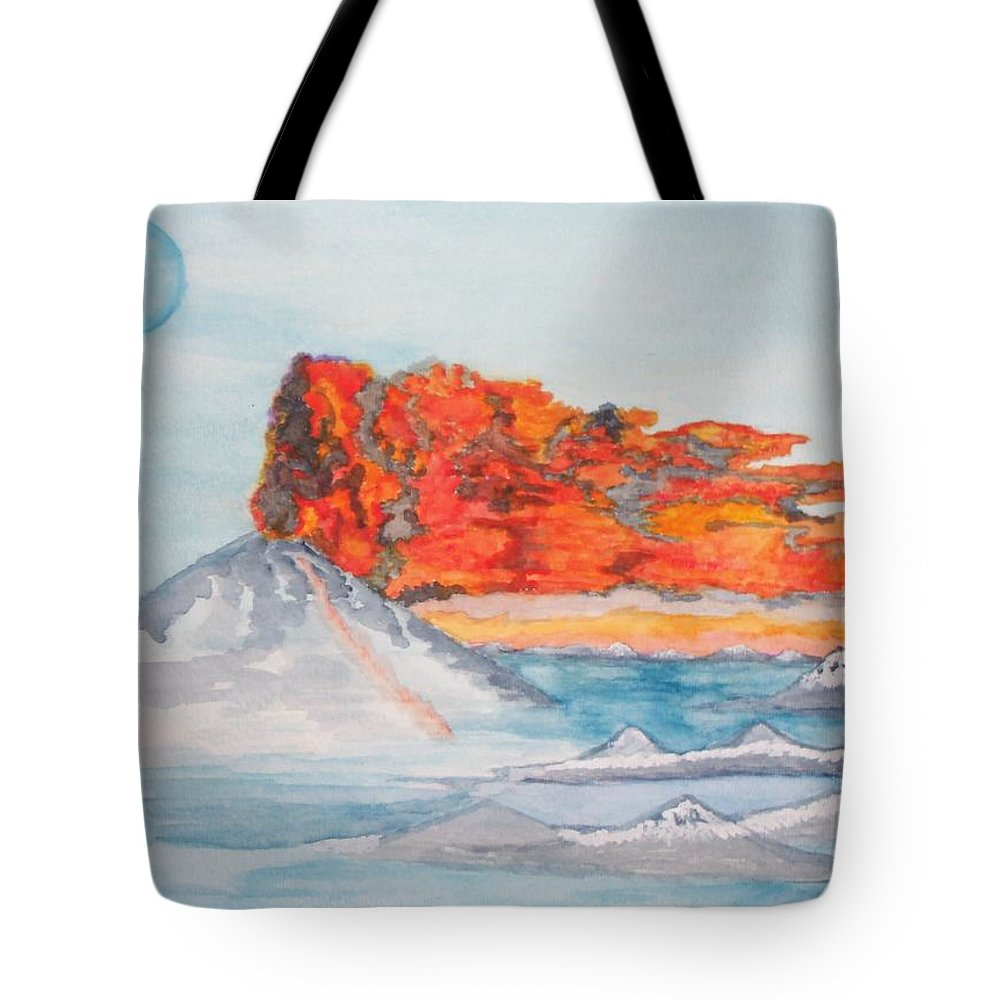 The Sea Tote Bag featuring the painting Earth In Action by Connie Valasco