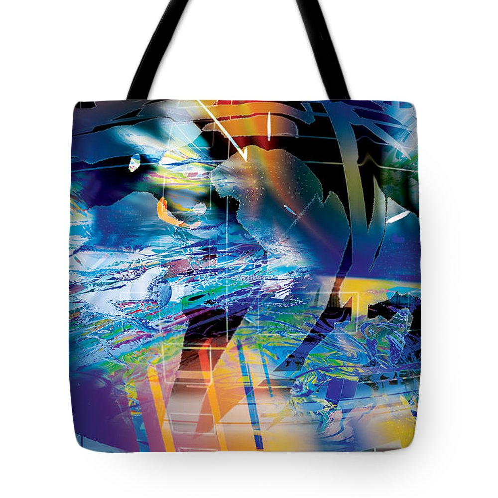 Abstract Tote Bag featuring the digital art Earth Lights by Eric J Amsellem