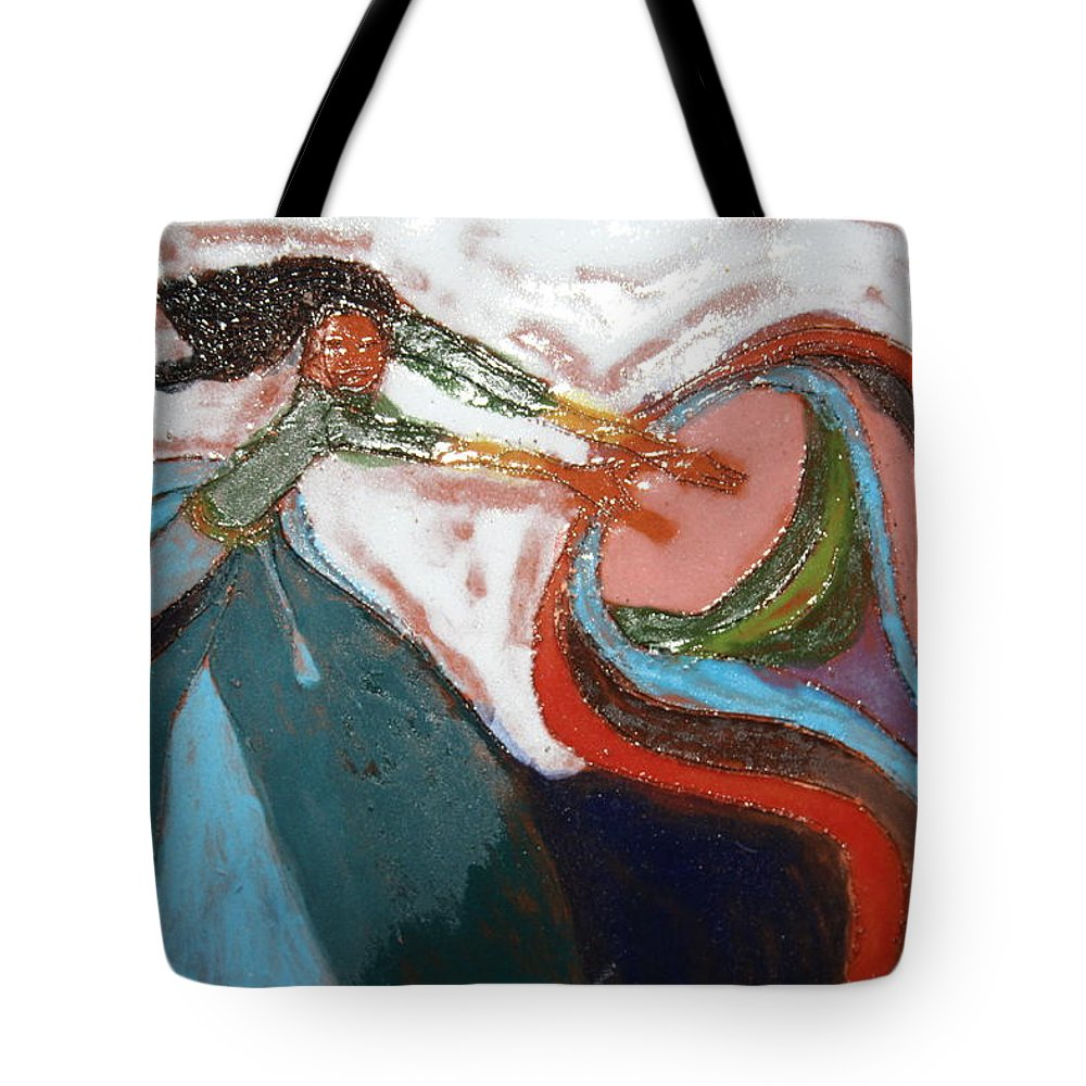 Jesus Tote Bag featuring the ceramic art Eartha - Tile by Gloria Ssali