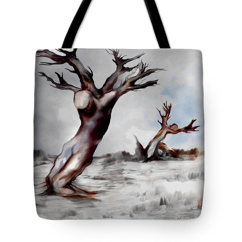 Trees Soul Nature Sky Storm Freedom Tote Bag featuring the mixed media Earthbound by Veronica Jackson