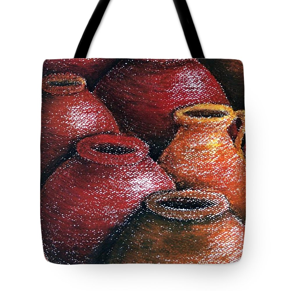 Earthen Tote Bag featuring the painting Earthen Vessels Iv by Jun Jamosmos