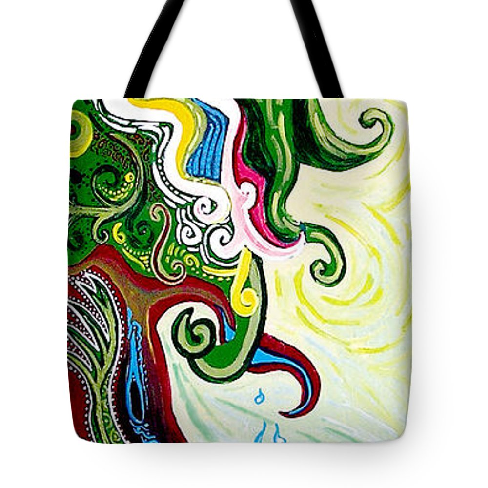 Mother Earth Tote Bag featuring the painting Earths Tears by Genevieve Esson