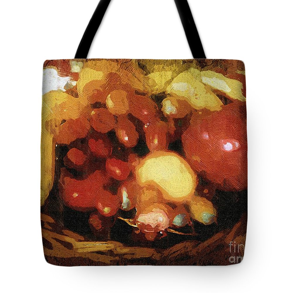 Basket Tote Bag featuring the painting Earthtone Fruit Fresco by RC DeWinter