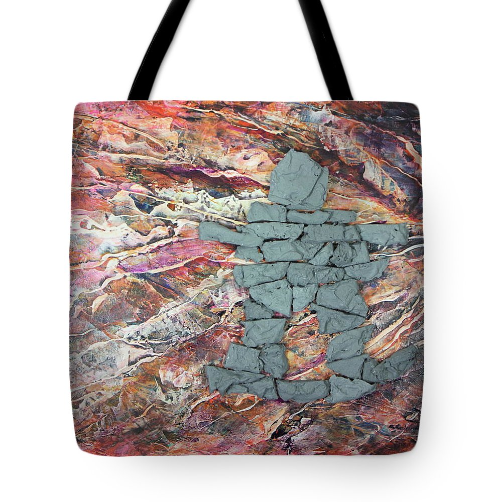 Tote Bag featuring the painting Earthwaves Inukshuk by Madeleine Arnett
