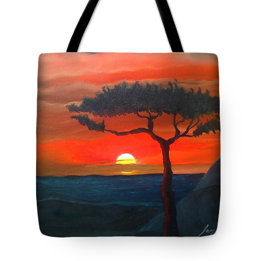 Africa! Tote Bag featuring the painting East African Sunset by Portland Art Creations
