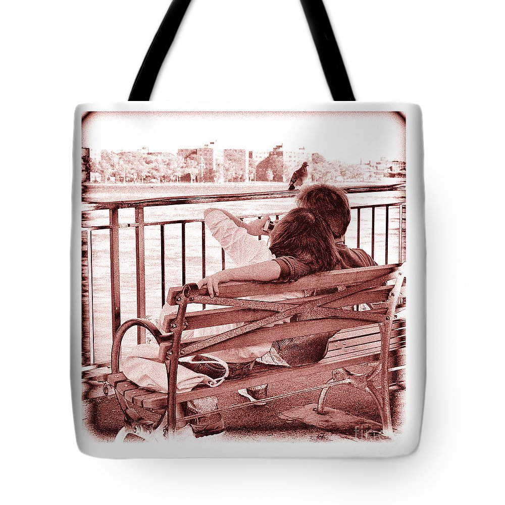 Man Tote Bag featuring the photograph East River Lovers by Madeline Ellis