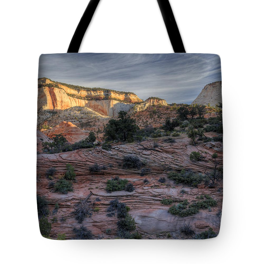 Hdr Tote Bag featuring the photograph East Zion Canyon Sunrise by Sandra Bronstein