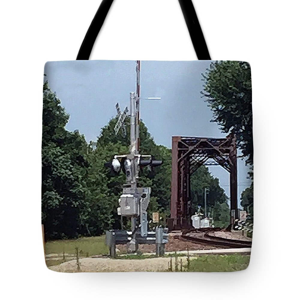 Railroad Trestle Tote Bag featuring the photograph Eastbound Trestle by James Pinkerton