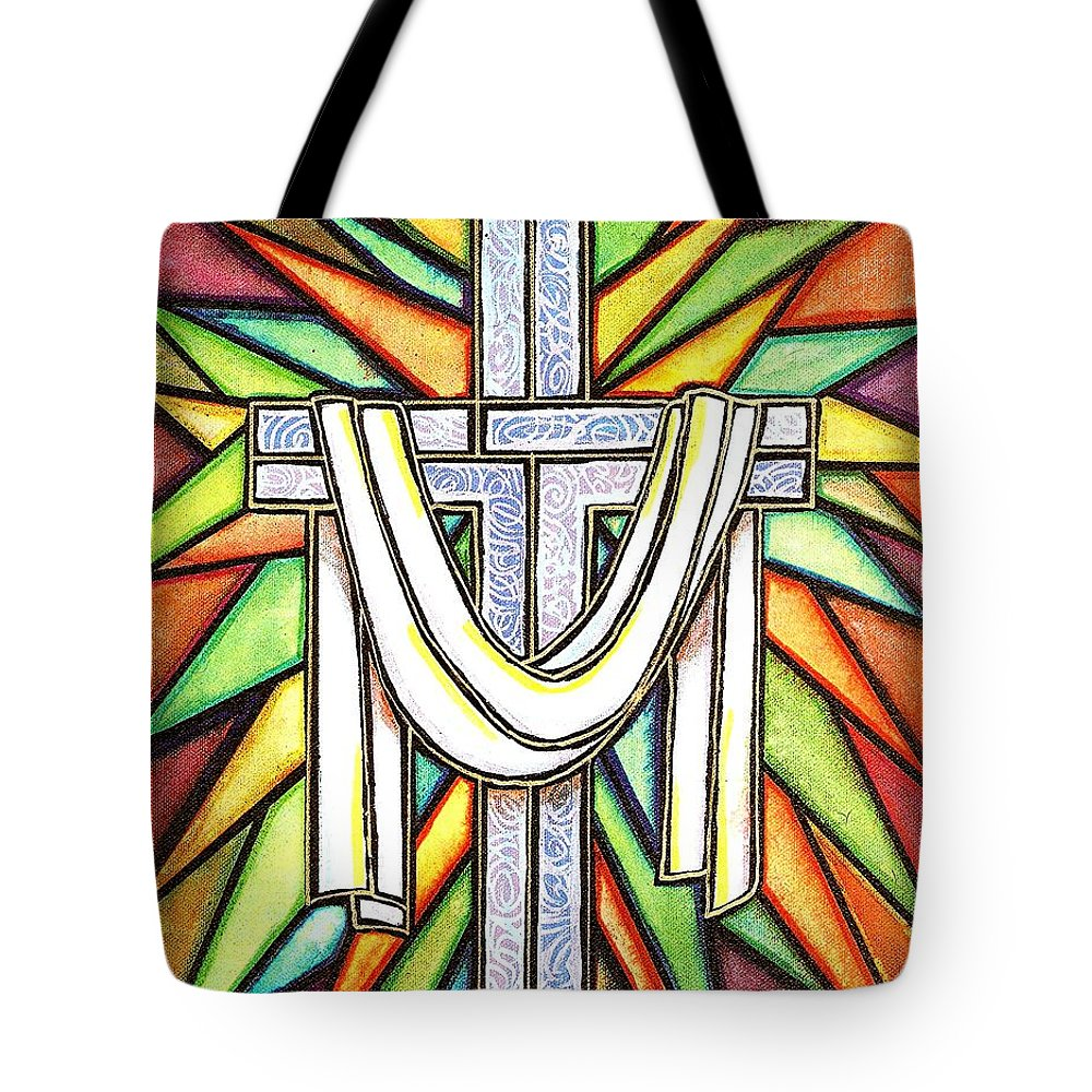Cross Tote Bag featuring the painting Easter Cross 5 by Jim Harris