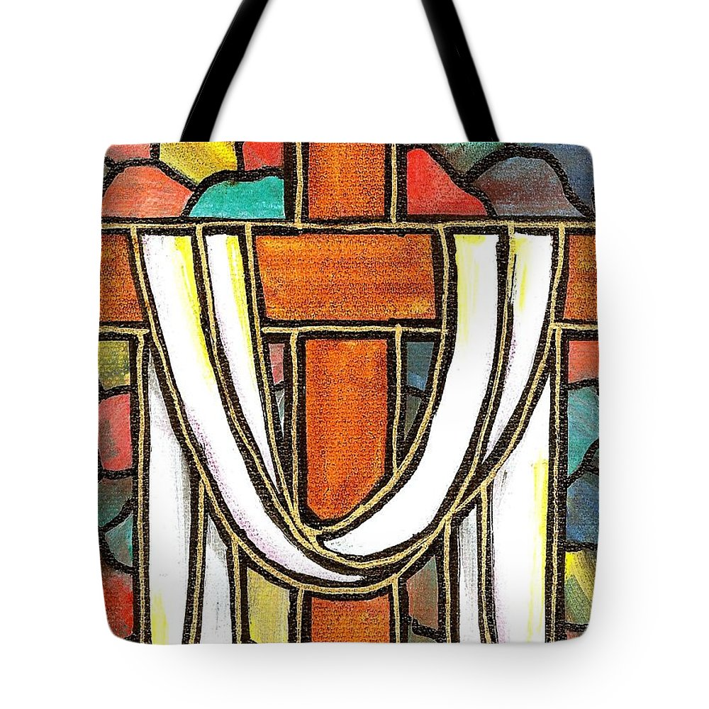 Easter Tote Bag featuring the painting Easter Cross 6 by Jim Harris