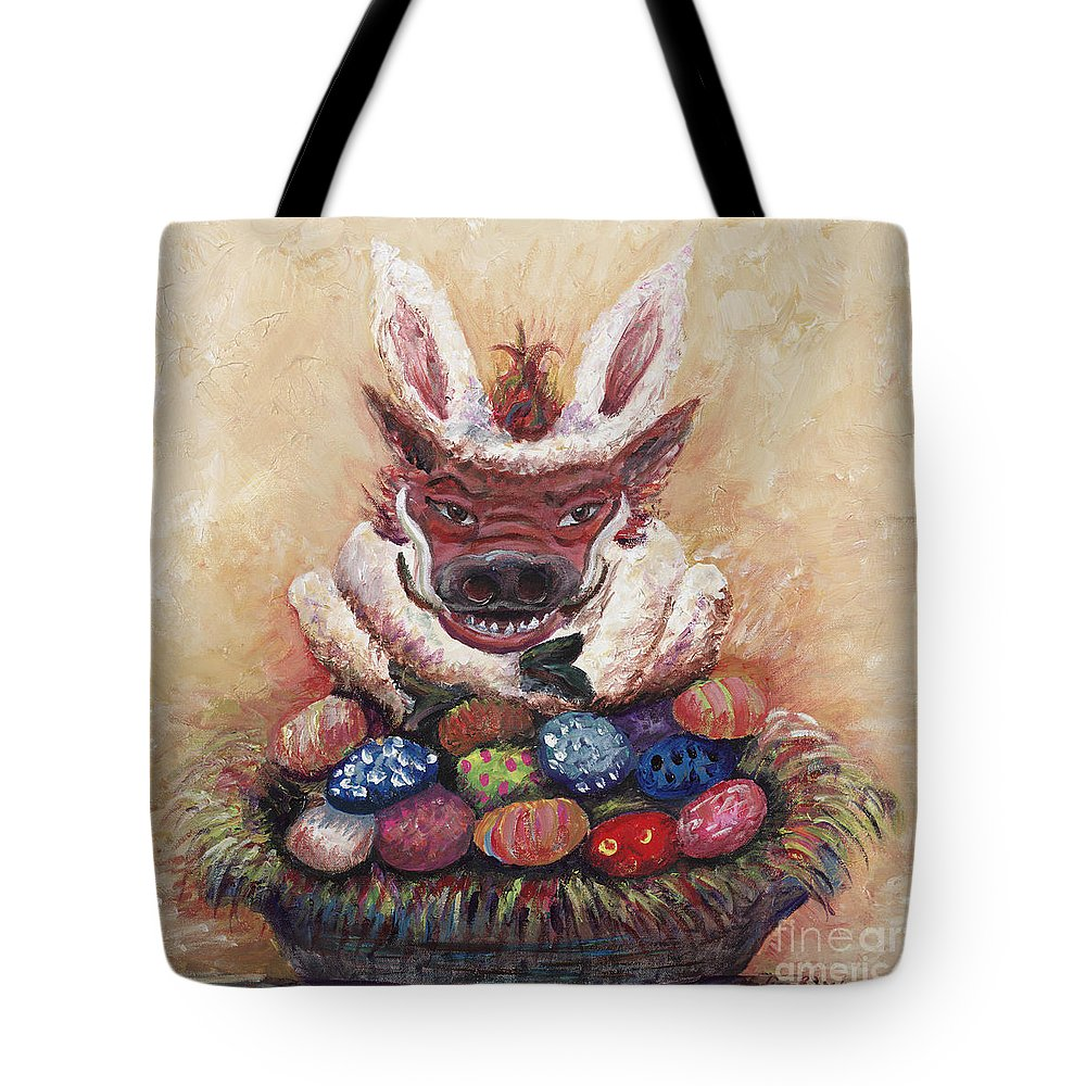 Easter Tote Bag featuring the painting Easter Hog by Nadine Rippelmeyer