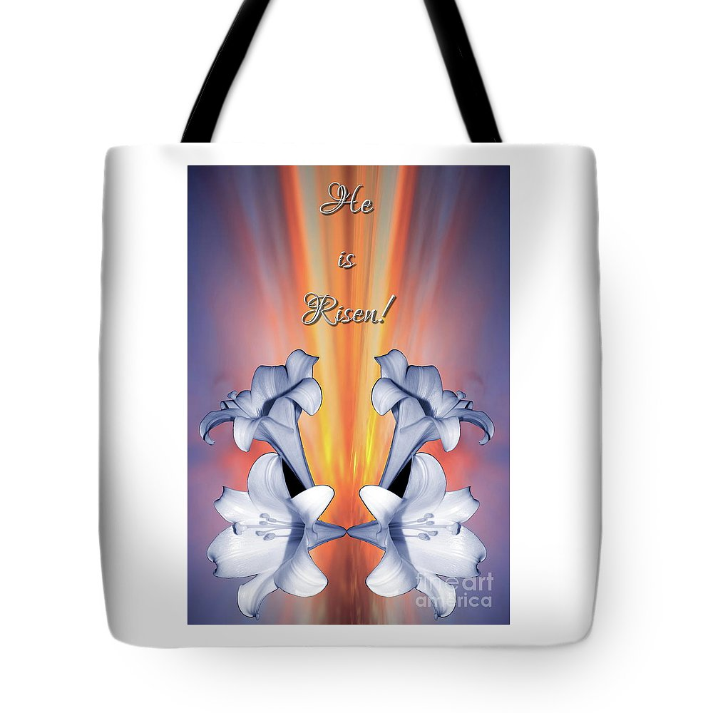 Easter Lilies Sunrise He Is Risen Tote Bag featuring the mixed media Easter Lilies Sunrise He Is Risen by Rose Santuci-Sofranko