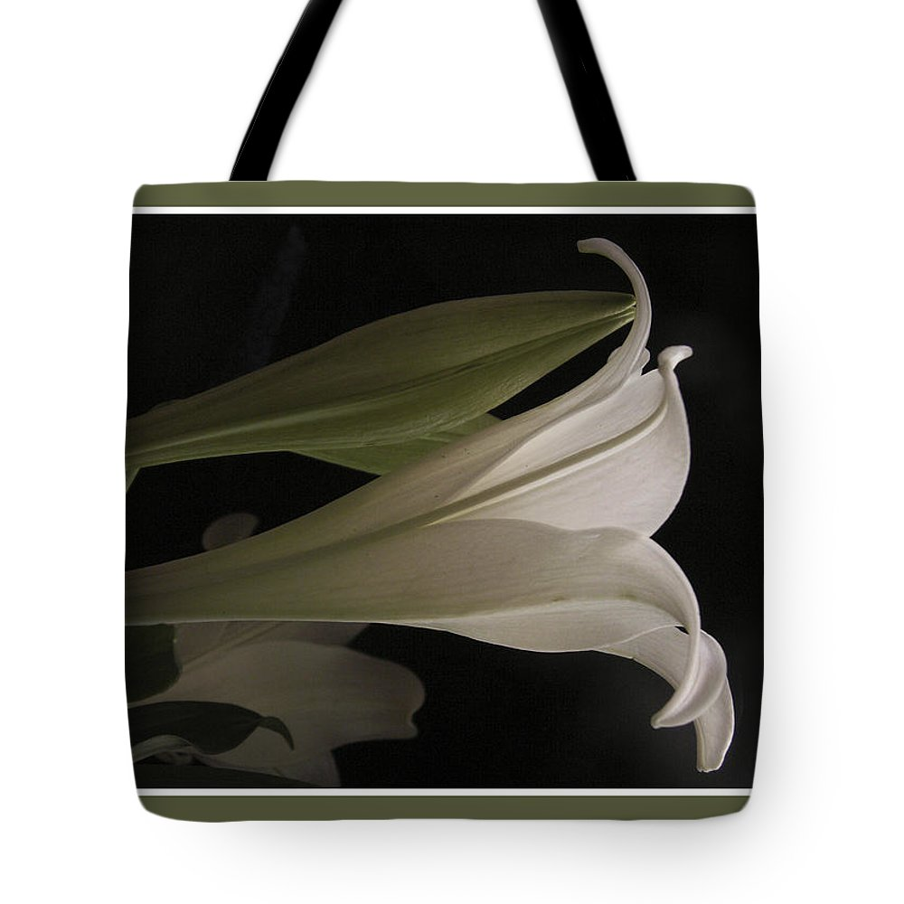 Lily Tote Bag featuring the photograph Easter Lily Card by Nancy Griswold