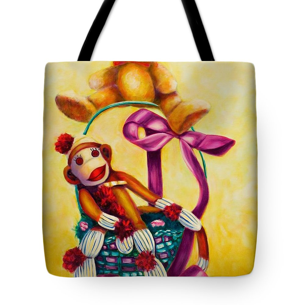 Easter Tote Bag featuring the painting Easter Made Of Sockies by Shannon Grissom