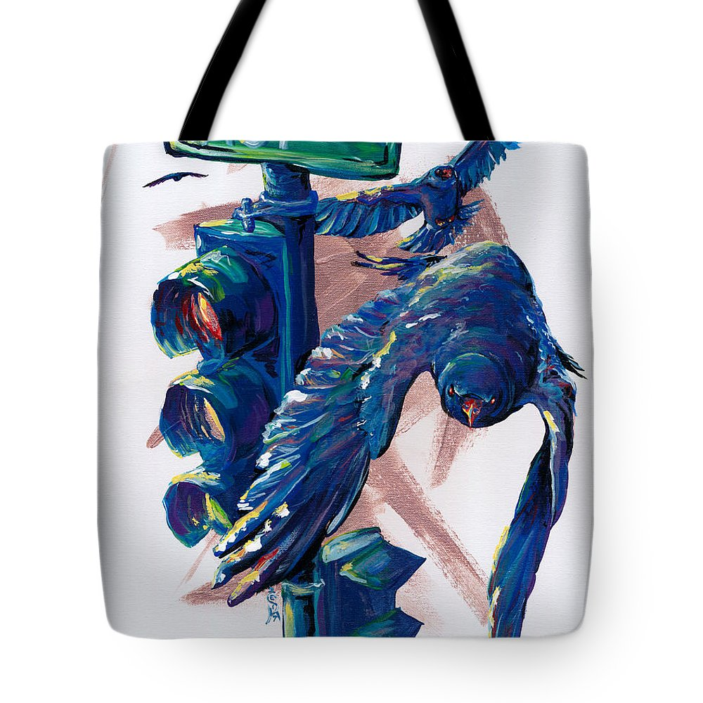 Crow Tote Bag featuring the painting Easy Street by Sara Jo Rosenberg