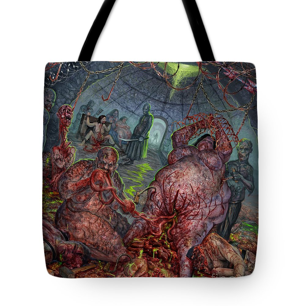 Epicardiectomy Tote Bag featuring the mixed media Eating The Stench by Tony Koehl