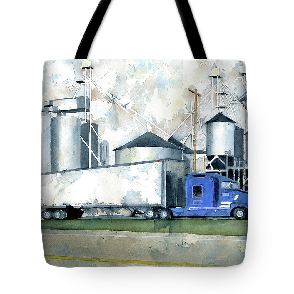 Truck Tote Bag featuring the painting Ebberts Seed Corn by Marsha Elliott