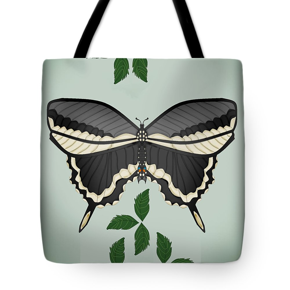 Butterfly Tote Bag featuring the painting Ebony And Ivory by Anne Norskog