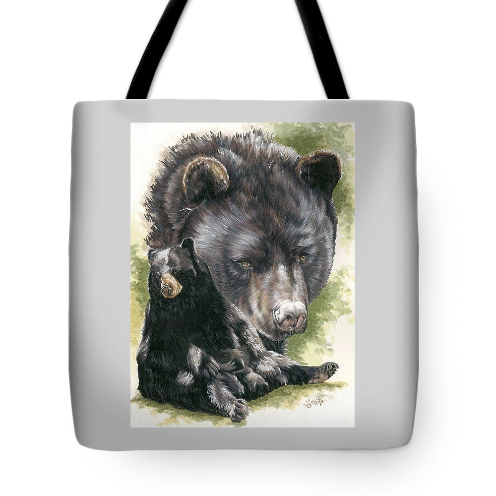Black Bear Tote Bag featuring the mixed media Ebony by Barbara Keith