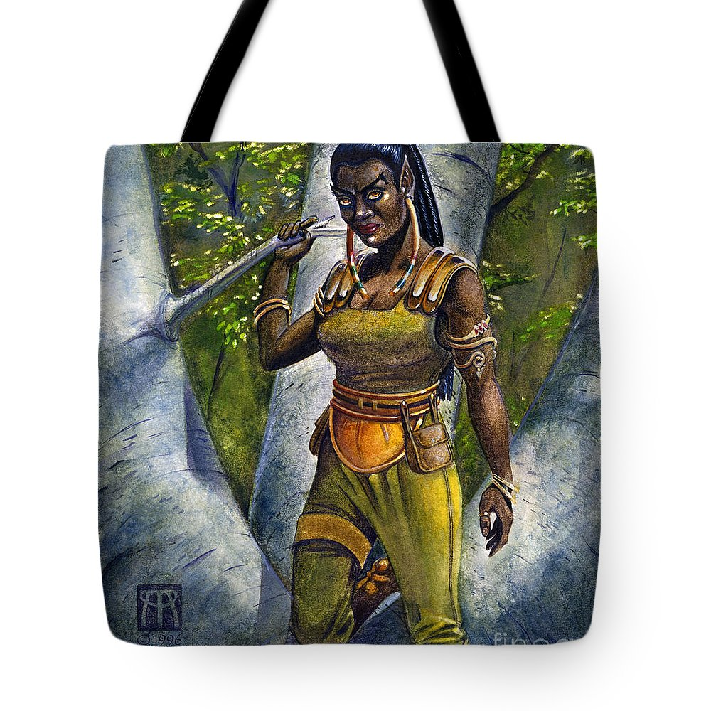 Elf Tote Bag featuring the painting Ebony Elf by Melissa A Benson