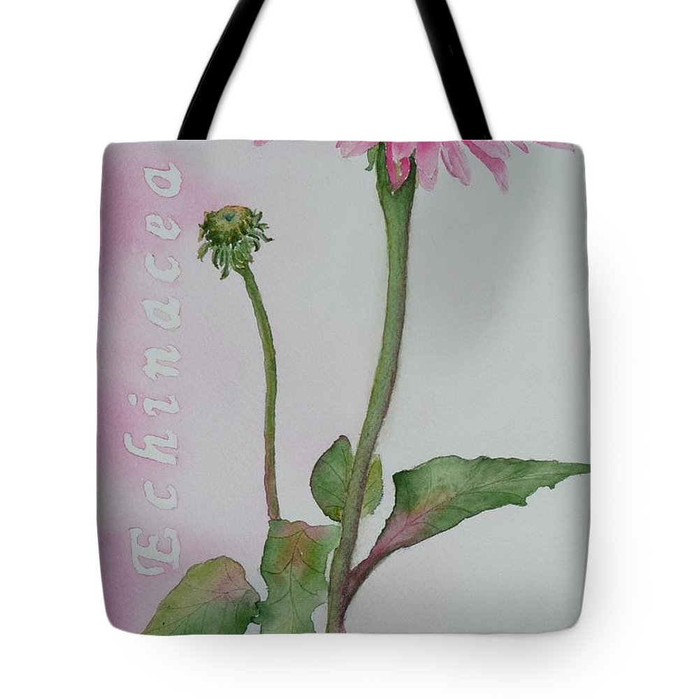 Flower Tote Bag featuring the painting Echinacea by Ruth Kamenev