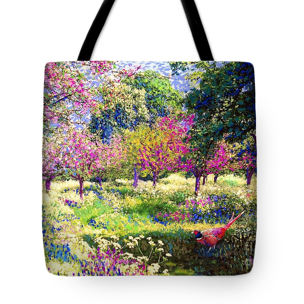 Floral Tote Bag featuring the painting Echoes from Heaven, Spring Orchard Blossom and Pheasant by Jane Small