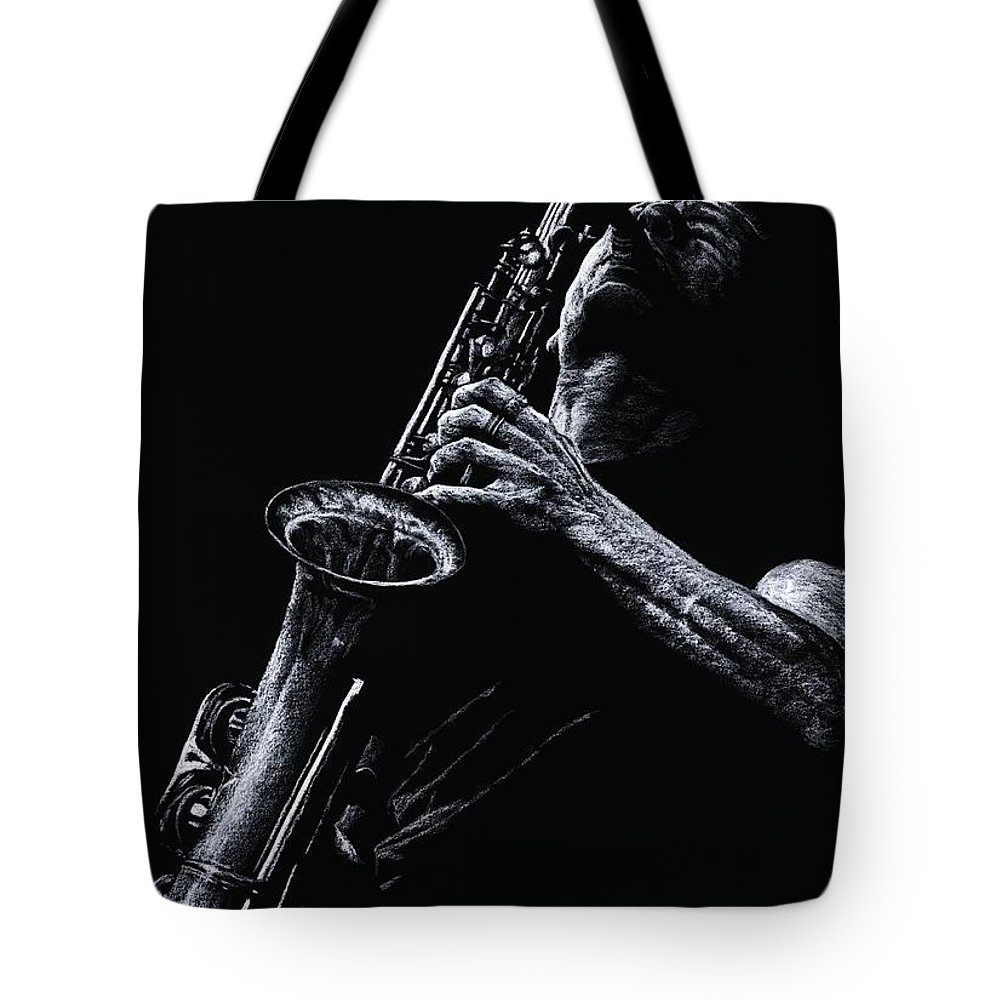 Musician Tote Bag featuring the pastel Eclectic Sax by Richard Young