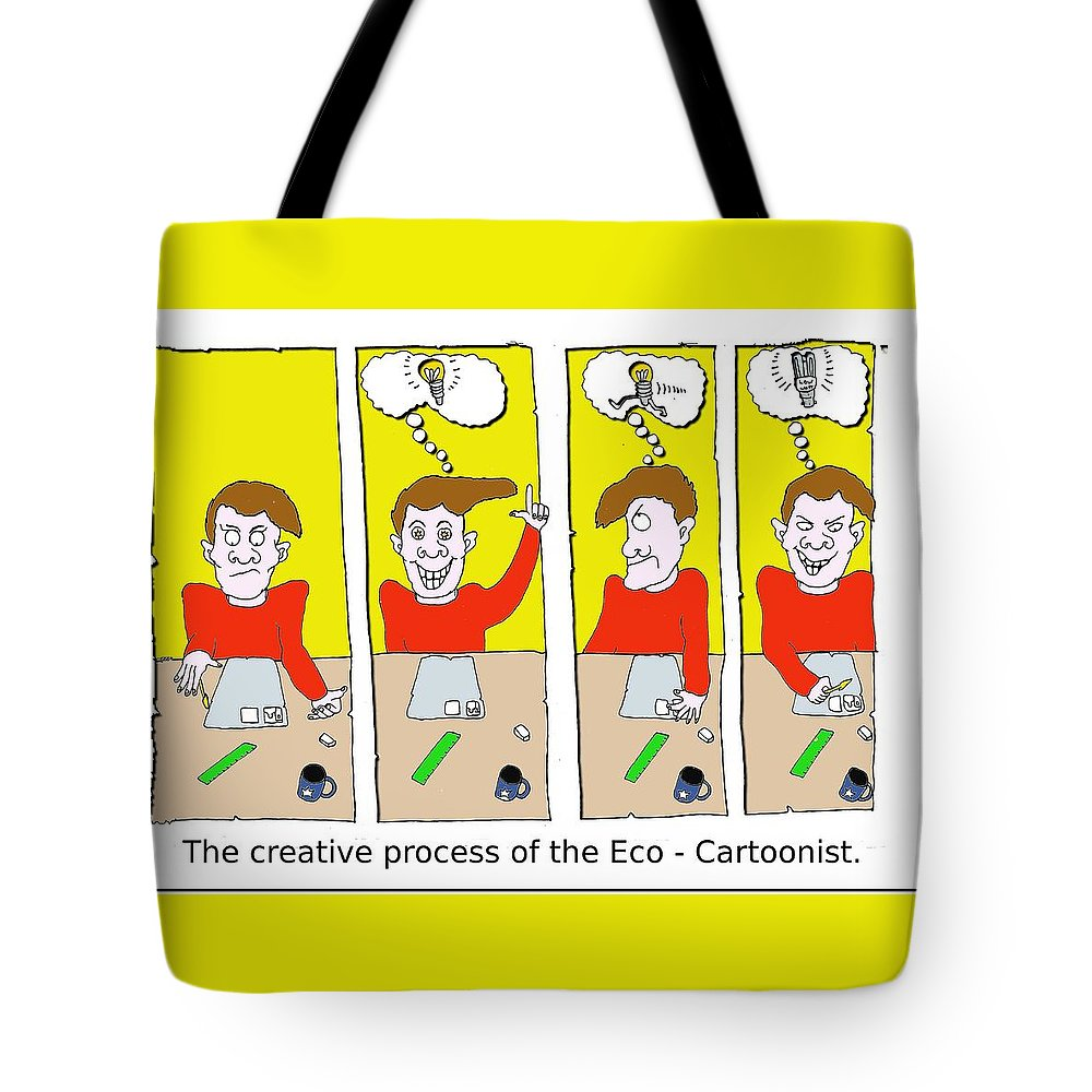 Eco Tote Bag featuring the digital art Eco Cartoonist by Grant Wilson
