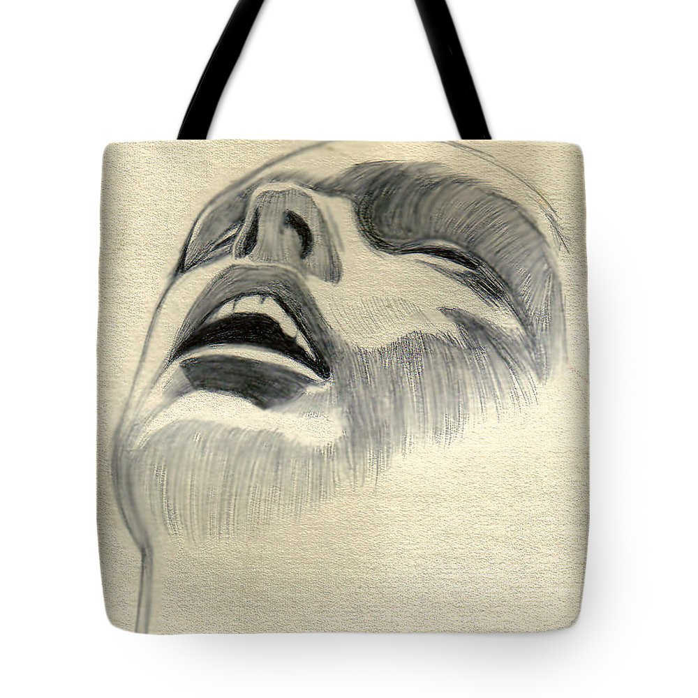 Drawing Tote Bag featuring the drawing Meditating by Marco Morales