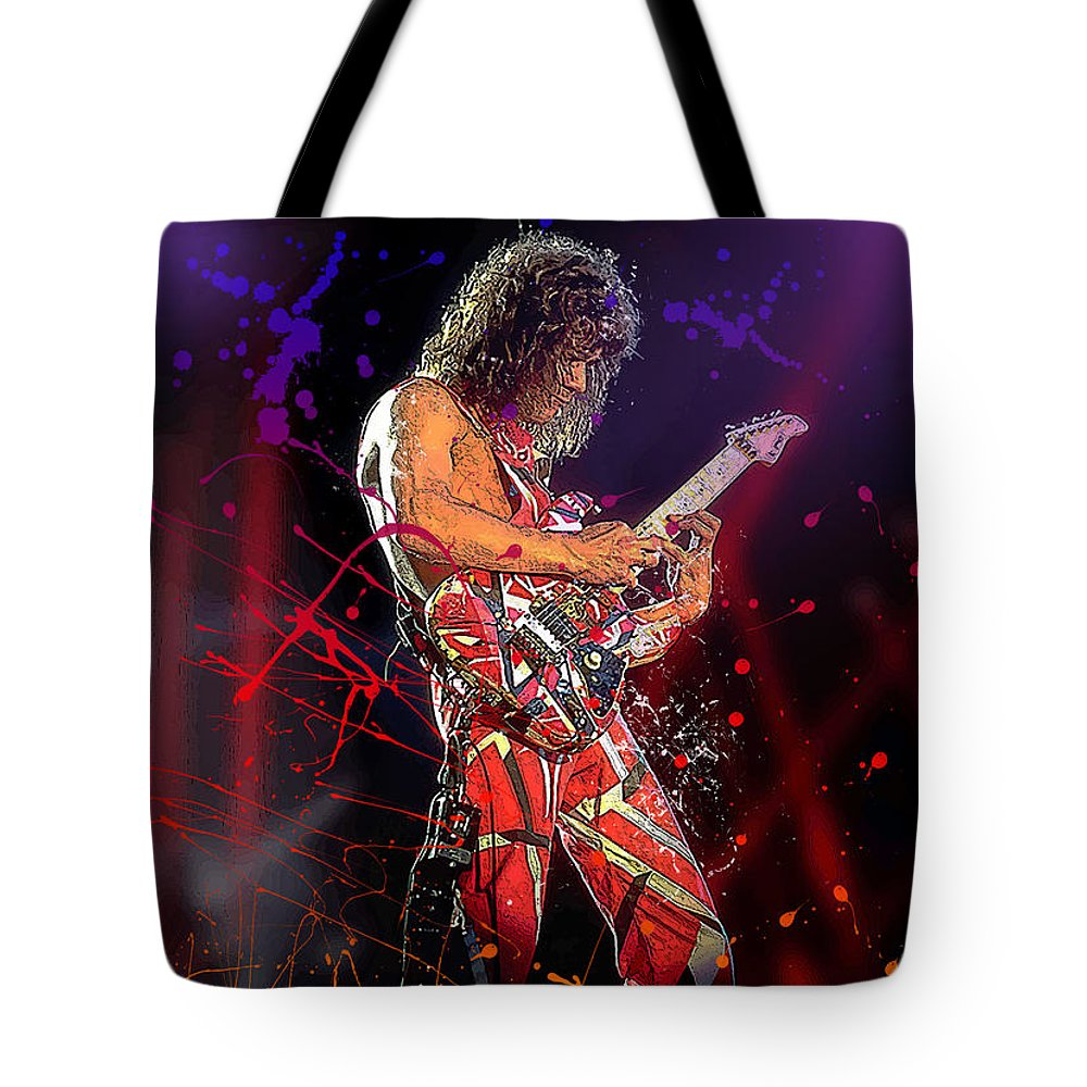 Eddie Van Halen Tote Bag featuring the digital art Eddie Van Halen by Hay Rouleaux