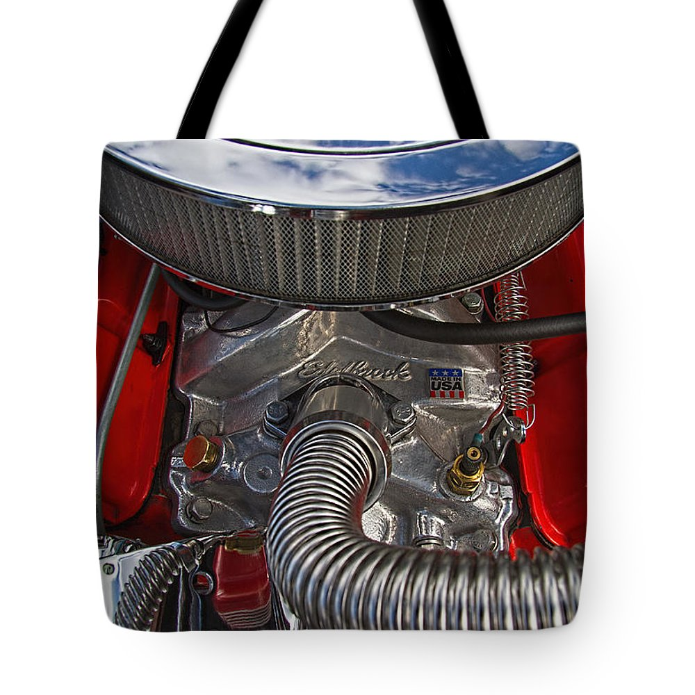 Hot Tote Bag featuring the photograph Edelbrock Hot Rod Engine by Nick Gray