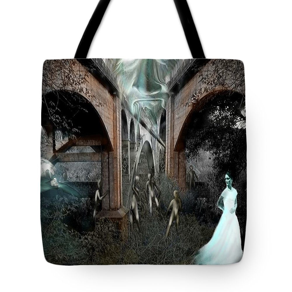 Eden Surreal Creatures Bridges Dreaming Tote Bag featuring the digital art Eden by Veronica Jackson
