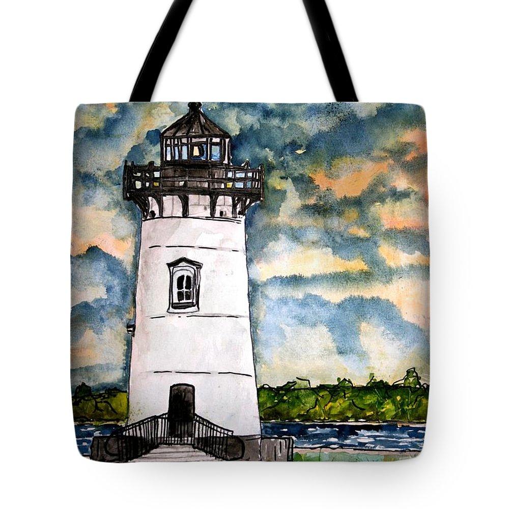 Lighthouse Tote Bag featuring the painting Edgartown Lighthouse Martha's Vineyard Mass by Derek Mccrea