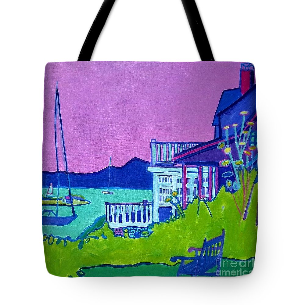 Landscape Tote Bag featuring the painting Edgartown Porches by Debra Bretton Robinson