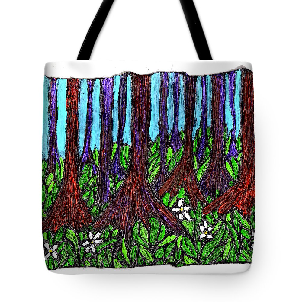 Trees Tote Bag featuring the painting Edge Of The Swamp by Wayne Potrafka