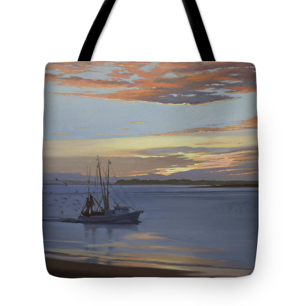 Shrimp Boat Tote Bag featuring the painting Edisto Shrimper by Todd Baxter