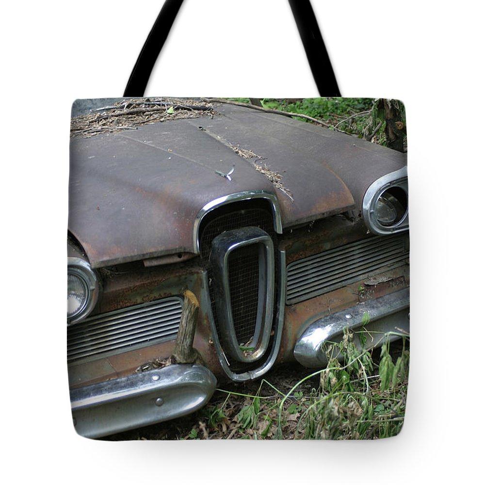 Junkyard Tote Bag featuring the photograph Edsel -58 by Bjorn Sjogren