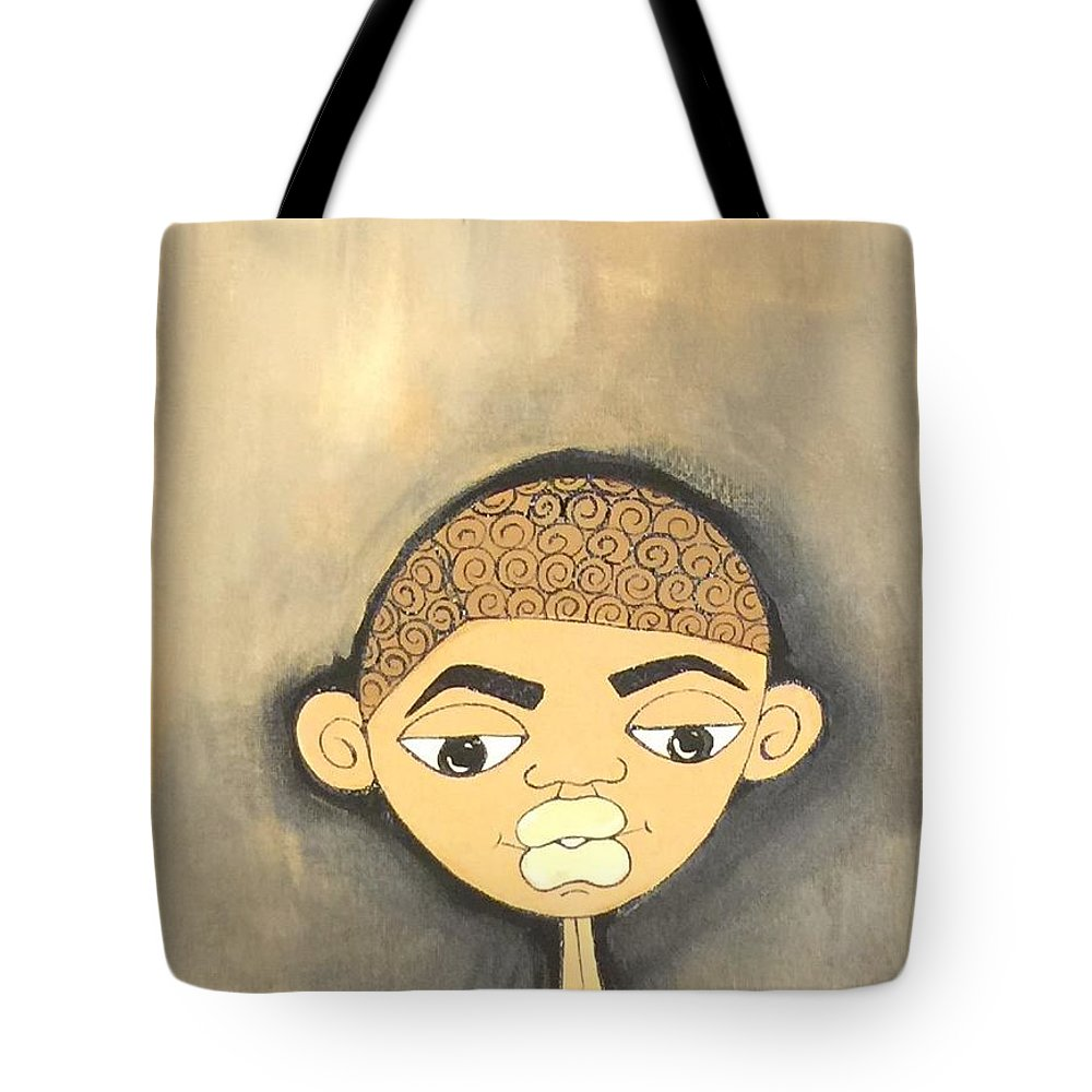 Black Men Tote Bag featuring the painting Educated by Deborah Carrie